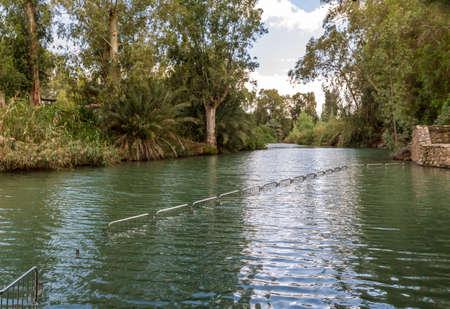 Shores of Jordan River at the Yardenit Baptismal Site, Israel Stock Photo