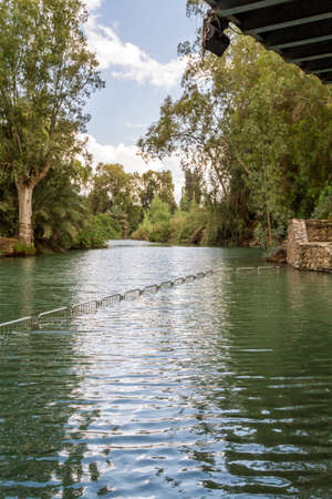 Shores of Jordan River at the Yardenit Baptismal Site, Israel Stock Photo