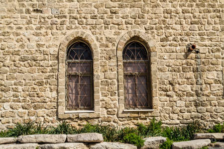 Vintage lancet windows of The Etzel musuem on the promenade in Tel-Aviv. 写真素材