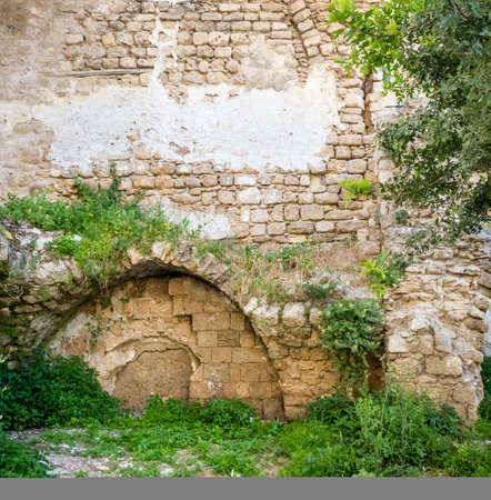 Ancient immured arch covered with plants, within old sandstone wall in Old Jaffa, Israel Imagens