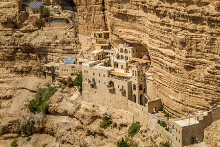 The Wadi Qelt or Nahal Prat, the Greek Orthodox monastery of Saint George of Choziba in Judaean Desert near Jericho in the Holy Land, Israel