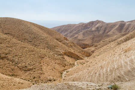 Dry riverbed near the monastery of Saint George of Choziba in Judaean Desert in the Holy Land, Israel 写真素材