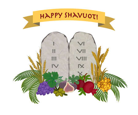 Jewish holiday of Shavuot, tablets of stone and Seven species of the Holy Land on white background