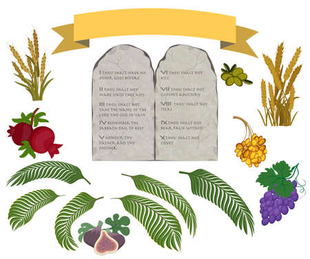 Tablets of stone with ten commandments and Seven species of the Holy Land on white background Imagens