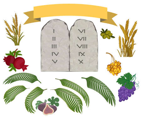Tablets of stone with ten commandments and Seven species of the Holy Land on white background Ilustrace