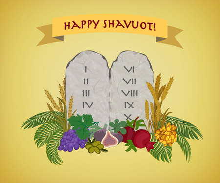 Jewish holiday of Shavuot, tablets of stone with ten commandments and Seven species of the Holy Land 写真素材