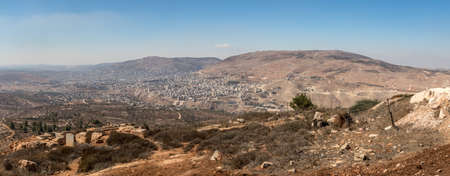 Panorama of Nablus (Shomron or Shechem), Mount Ebal and Mount Gerizim