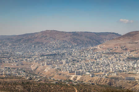 Panorama of Nablus (Shomron or Shechem) and Mount Gerizim 写真素材