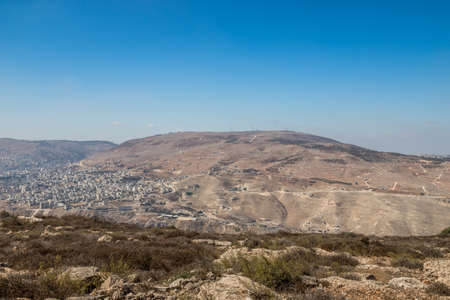 Panorama of Nablus (Shomron or Shechem) and Mount Ebal 写真素材
