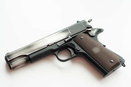 glock: Handgun pistol isolated on a white background Stock Photo