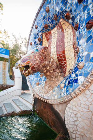 Snake Fountain at Parc Guell, Barcelona, Spain, September 2016