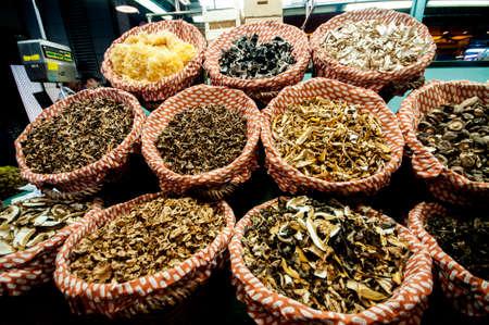 dried mushrooms for sale at market called La Boqueria, foremost tourist landmarks in Barcelona