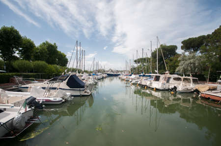 The port canal of Leonardo da vinci. During the morning. Cesenatico on the Adriatic coast of Italy