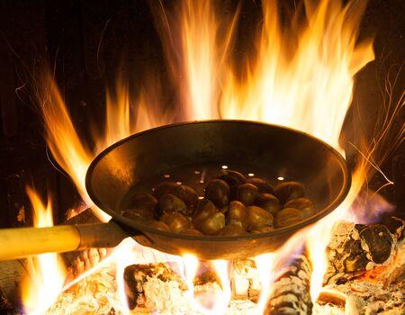 cooking chestnuts Фото со стока