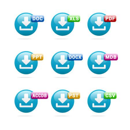 file format: Business File Format Icons Illustration