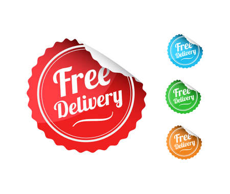 sticker vector: Free Delivery Stickers