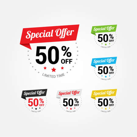 discount buttons: Special Offer 50 Labels Illustration