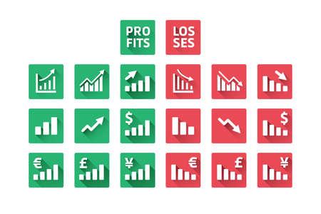 profit loss: Profit And Loss Icons Illustration
