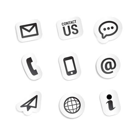 contact icon set: Contact Us Stickers