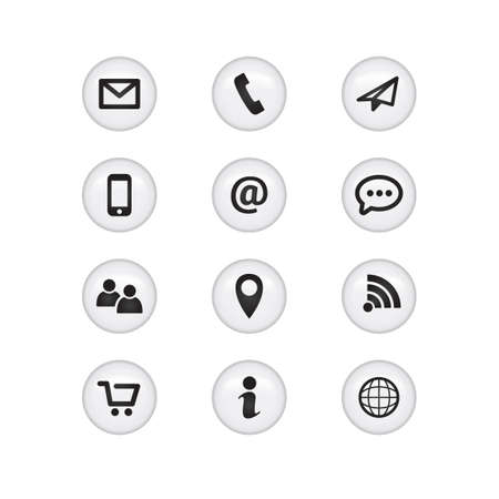 Contact Glass Icons Vectores