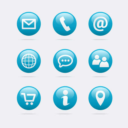 contact info: Info & Contact Icons Illustration