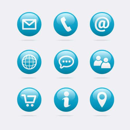 Info & Contact Icons Stock Illustratie