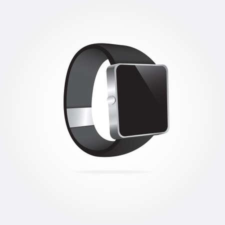 wearable: Black Modern Smartwatch Wearable Illustration