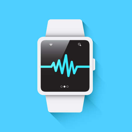 heart rate: Smart Watch Heart Rate Icon Illustration