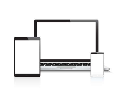 Laptop, Tablet Telefoon Devices Stock Illustratie