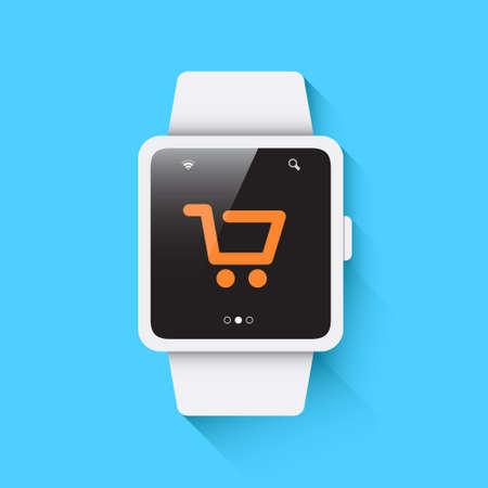 smart: Smart Watch Shopping Icon Illustration
