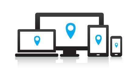 Multi-Device Location Icons Stock Illustratie