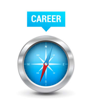 career development: Compass  Career Tag Illustration