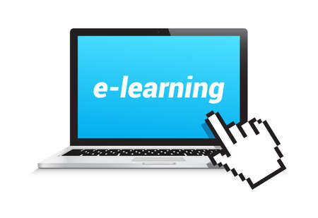 online business: E-Learning Laptop Hand Pointer Illustration