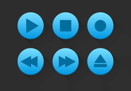 rec: Blue Media Player Buttons