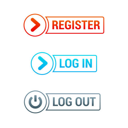 log out: Register, Log In  Log Out Buttons