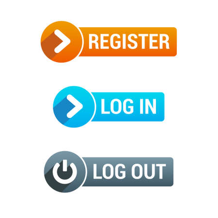 blue button: Register, Log In  Log Out Buttons