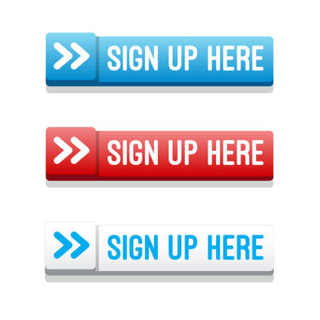 signup: Sign Up Here Buttons Illustration