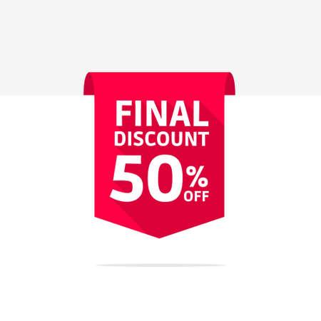 50: Final Discount 50 Off Long Shadow Ribbon Illustration