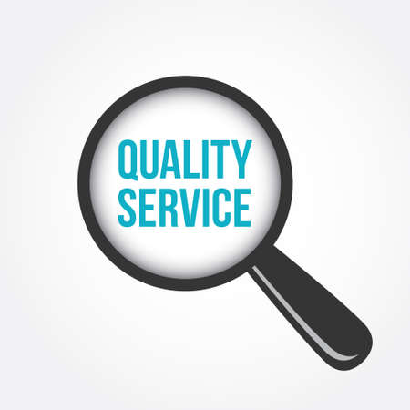 quality service: Quality Service Magnifying Glass Illustration