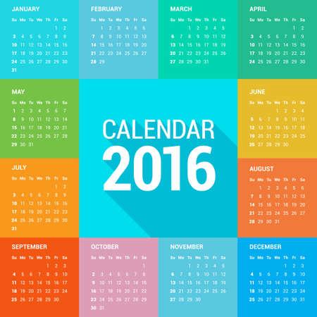 calendar: Calendar 2016 Sunday First Illustration