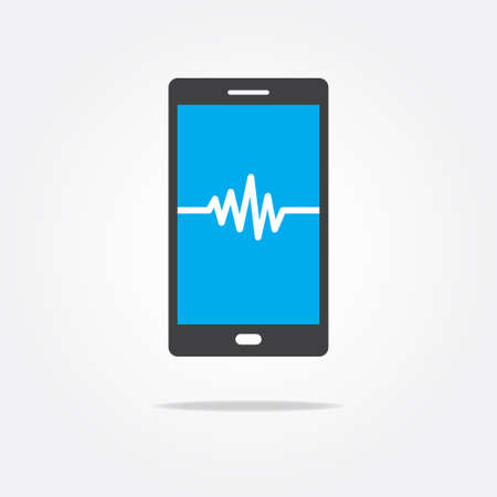 rate: Waveform Heart Rate Phone Icon Illustration