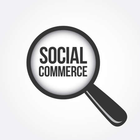 social commerce: Social Commerce Magnifying Glass Illustration