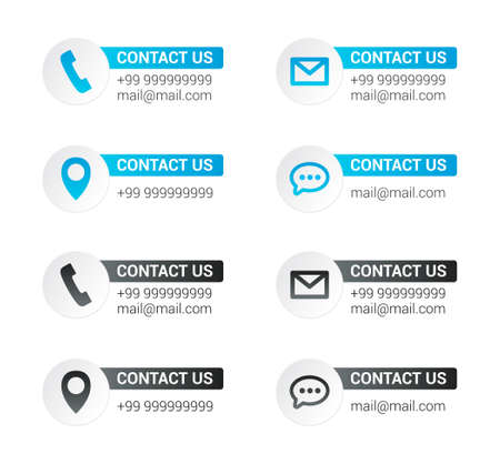 contact phones: Contact Us Labels Illustration