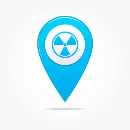 uranium: Radioactive Pin Icon Illustration