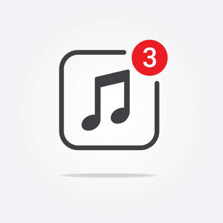 notification: Music  Multimedia Notification Icon Illustration