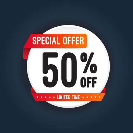 label sticker: Special Offer 50 Off Round Sticker