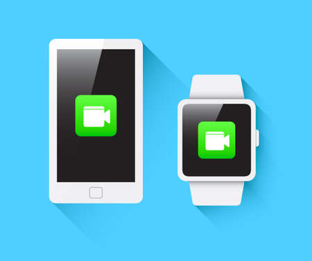 watch video: Phone  Smart Watch Video Call Icon Illustration