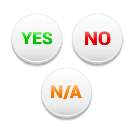yes no: Yes, No, NA Round White Icons