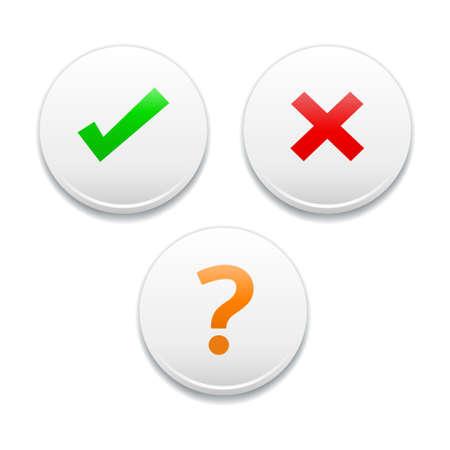 na: Yes, No, NA, Check, Cross Round White Icons Illustration