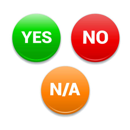 yes no: Yes, No, NA Round Icons Illustration